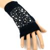 Перчатки + стразовые митенки (алые) 2