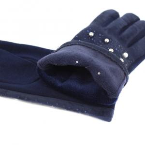 Комбинированные перчатки под замшу с декором  0