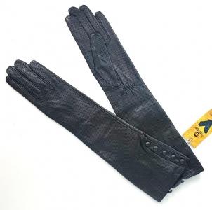 Высокие перчатки из перфорированной натуральной кожи (черные) // 0