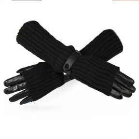 Стильные кожаные перчатки с длинными митенками