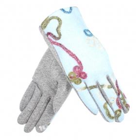 Сенсорные перчатки (драповые) с вышивкой