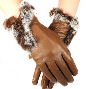 Женские перчатки их натуральной кожи с мехом Кролика