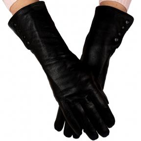 Удлиненные кожаные перчатки утепленные