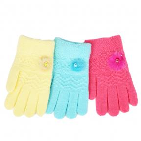 Детские утепленные двойные перчатки с декором из натурального мехе