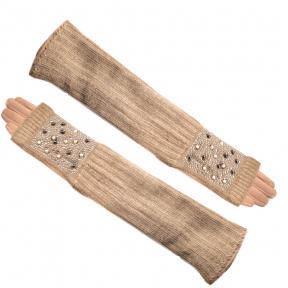 Трикотажные длиные перчатки + митенкина евромеху