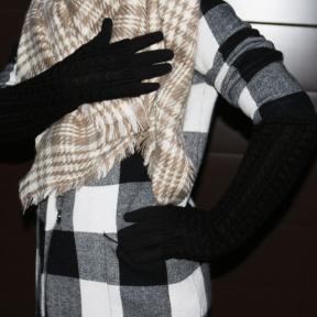 Длинные трикотажные перчатки с митенками