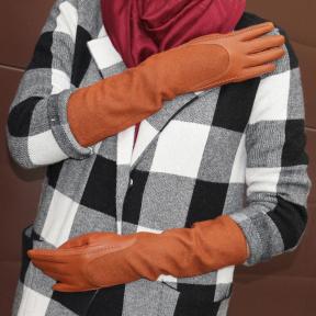 Длинные перчатки кашемир с натуральной кожей