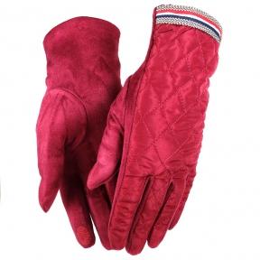 Стеганные перчатки с искусственной замшей сенсорные