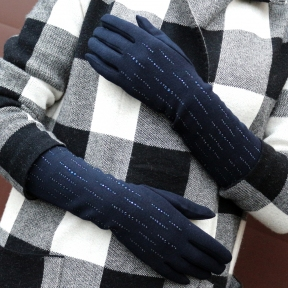Перчатки удлиненные со стразами трикотаж утепленные