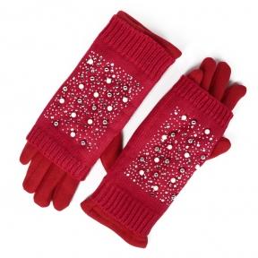 Перчатки + стразовые митенки (алые)