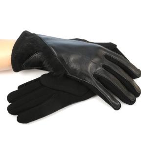 Перчатки утепленные трикотаж + натуральная кожа