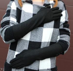 Длинные перчатки трикотажные (сенсорные)