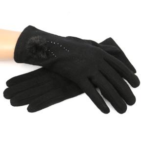 Кашемировые перчатки с декором из норки