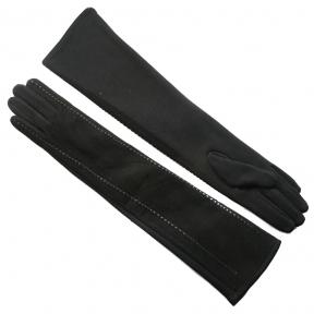 Длинные перчатки комбинированные (трикотаж+натуральная замша)