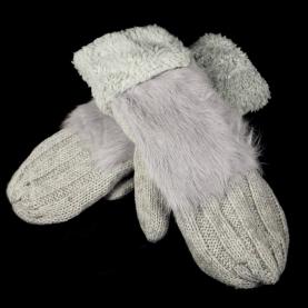 Варежки шерсть с натуральным мехом Кролика
