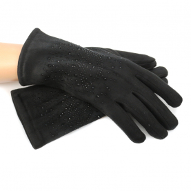 Велюровые перчатки со стразами на искусственном меху