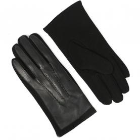 Стильные мужские трикотажные перчатки с кожей PU утепленные