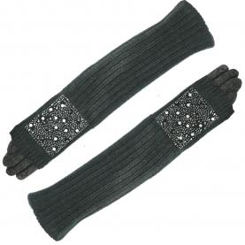 Трикотажные длиные перчатки + митенкина евромеху (серые)