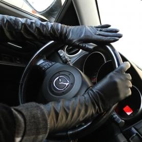 Длинные перчатки натуральная кожа на евромеху