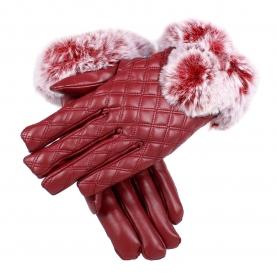 Перчатки (имитация кожи + имитация меха кролика)